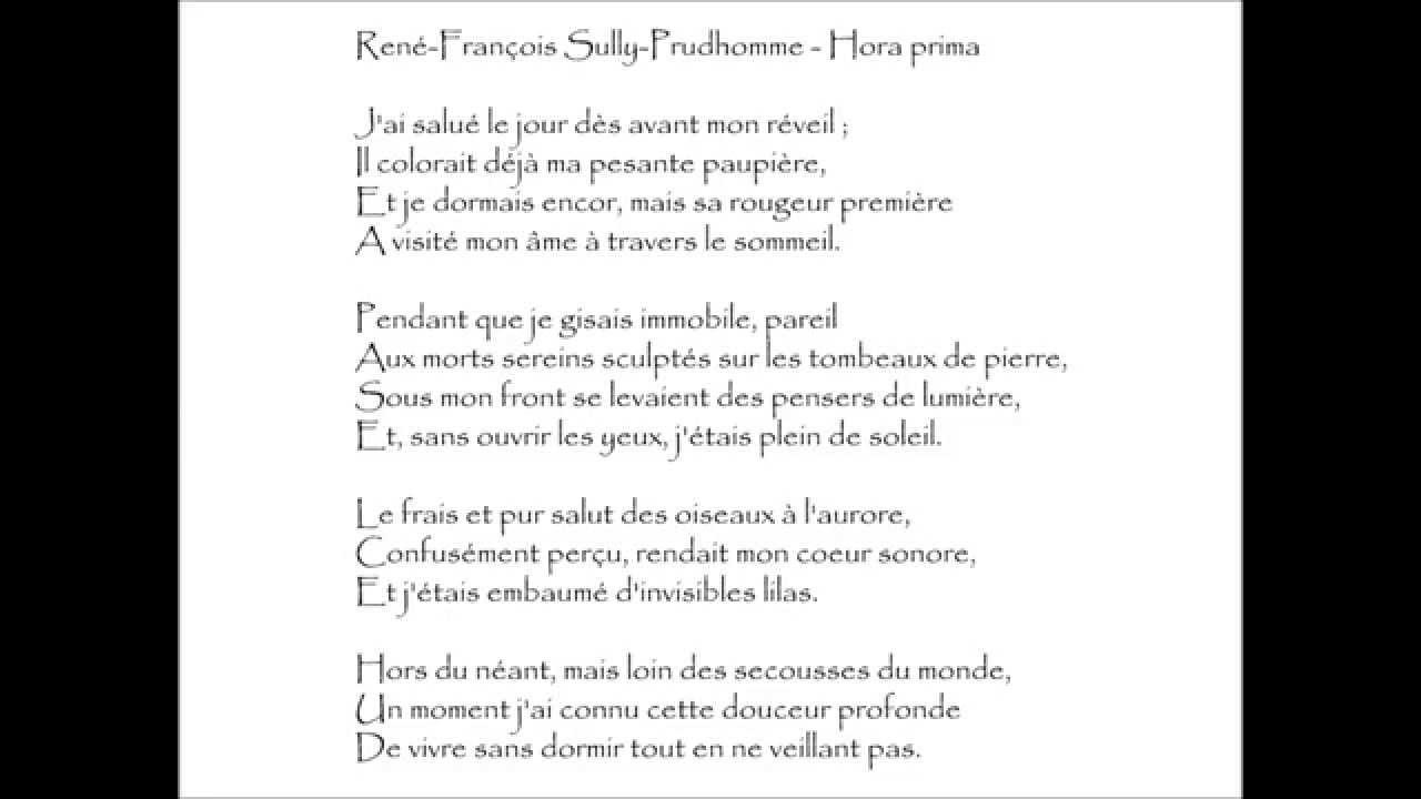 Sully Prudhomme Hora Prima Jai Salué Le Jour Audiothèque