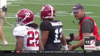 Alabama Spring Game 2017 - Tua Tagovailoa Crazy Tipped Pass Touchdown HD