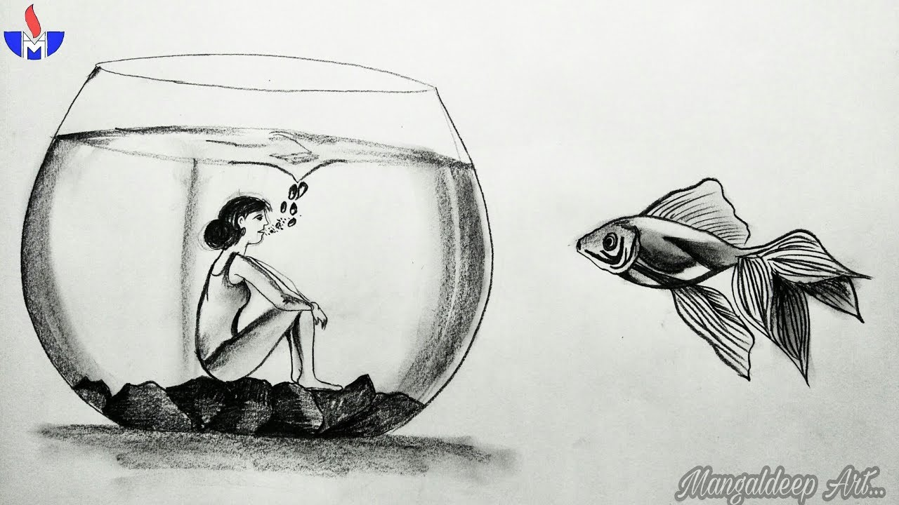 A Pencil Sketch Drawing With Deep Meaning Mangaldeep Art Youtube