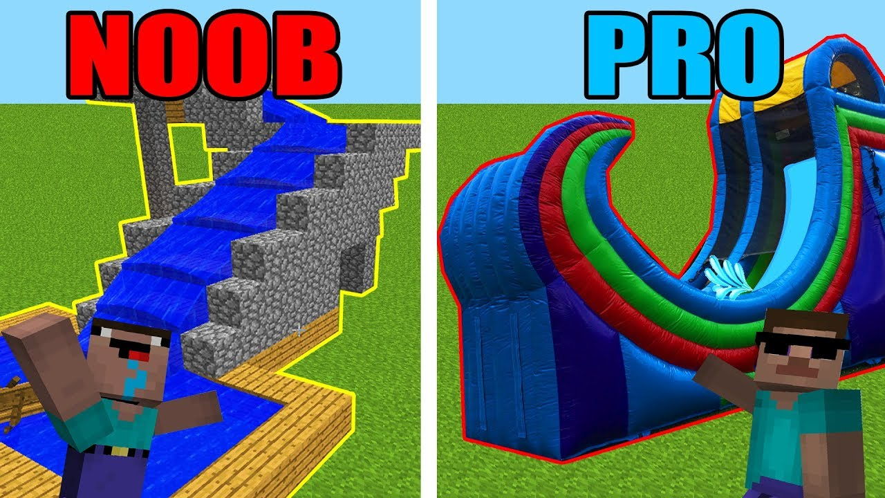 Minecraft Noob Vs. Pro: Water Slides in Minecraft!