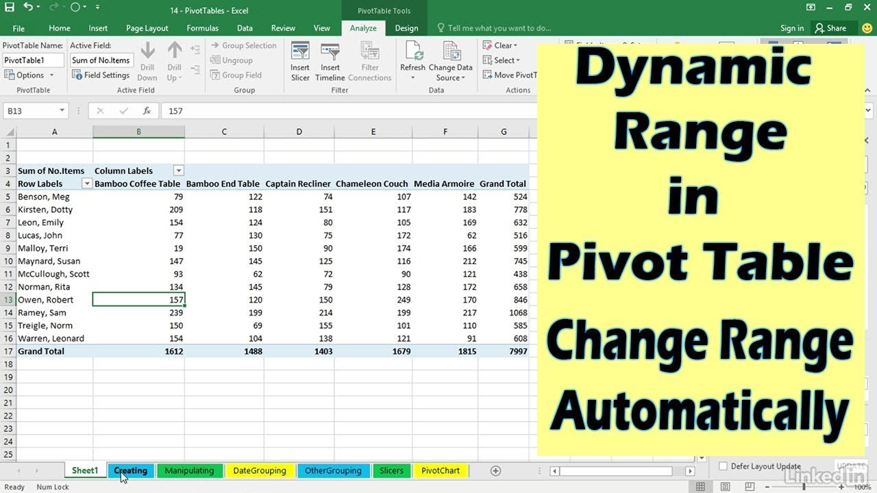 How To Create Pivot Table In Excel >> Automatically change Range of Pivot Table when data is added | Microsoft Excel Tutorial - YouTube