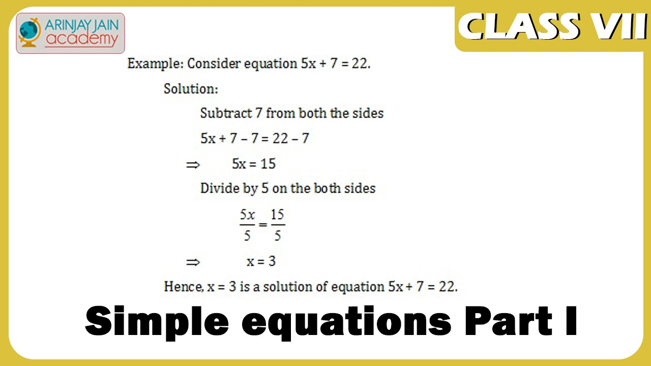 worksheet Simple Equations Worksheet For Class 7 simple equations part i maths class 7vii isce iscecbse ncert