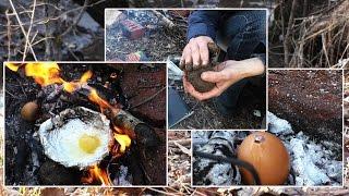 👣 Три способа приготовления яиц на костре без посуды