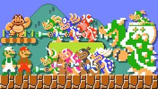 Super Mario Maker 2 - All SMB1 Bosses (2 Players). ᴴᴰ