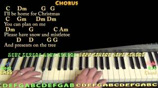 I'll Be Home for Christmas - Piano Cover Lesson in C with Chords/Lyrics
