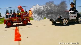 Power Wheels Tug-of-War - Police vs Fire!