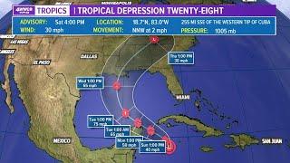 Saturday 6pm tropics update: Tropical Depression 28