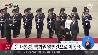 김정은 위원장, 남측 인사들과 인사   김진의 돌직구쇼 thumbnail