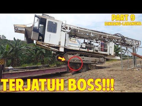 HAMPIR!! Mesin Drilling Turun Dari Atas Trailer Lowboy Utuh Gelapung Transport Part 9