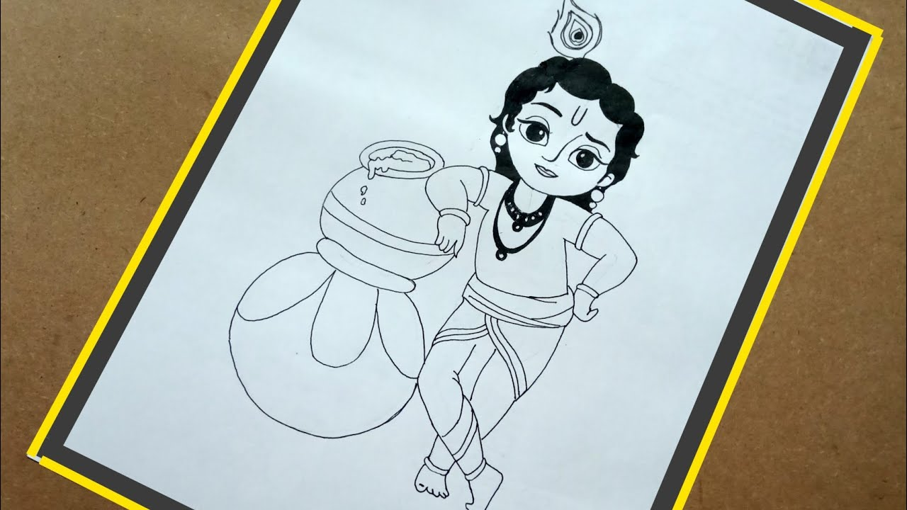 Janmashtami Special Krishna Painting Step By Step For Beginners How To Draw Krishna Youtube