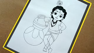 Janmashtami Special/ Krishna Painting Step by Step for Beginners / how to draw Krishna