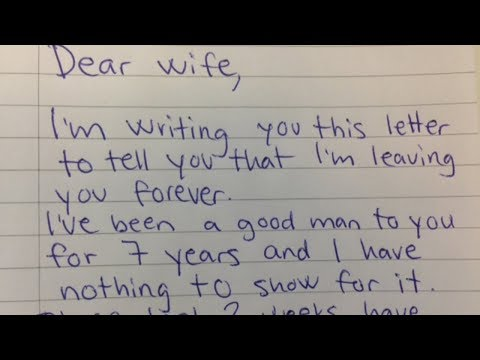 Husband Demands Divorce In Letter, His Wife Brilliant Reply