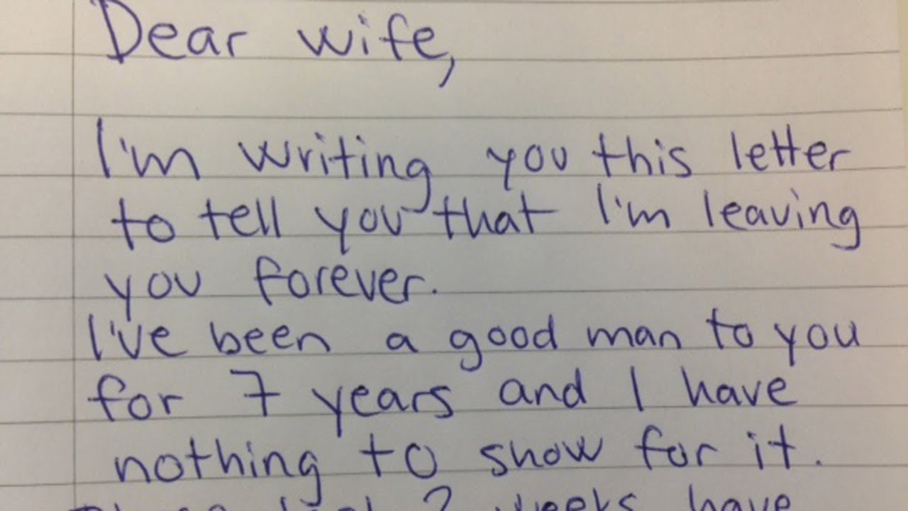 Husband Demands Divorce In Letter His