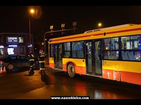 Wypadek autobusu i audi na skrzyżowaniu przy Starostwie 14.03.2018