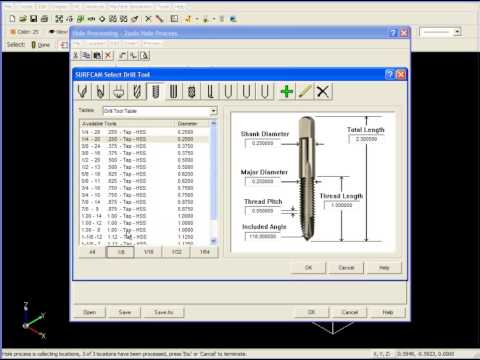 SURFCAM Tutorial - 2-Axis: Basic Drilling Operations - Part 2