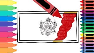 How to Draw Montenegro Flag - Drawing the Montenegrin Flag - Art Colors for Kids | Tanimated Toys