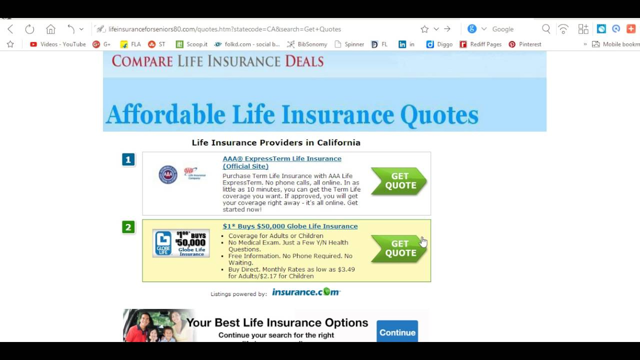 Affordable Life Insurance Quotes Online Best Life Insurance Aarp Review Rates  Youtube