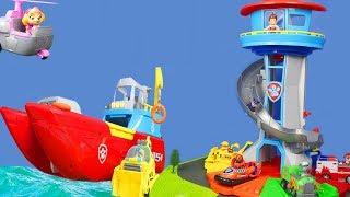 Paw Patrol Unboxing: Sea Patroller & Lookout Tower mit Feuerwehrmann Marshall | Video für Kinder