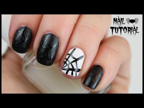 Halloween Matte Spider Web Nails