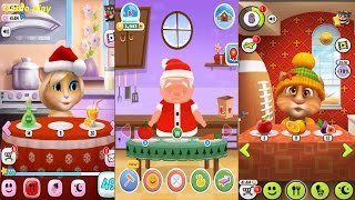 My Talking Angela VS My Talking Tom VS My Newborn Santa  Gameplay Great Makeover for Children HD