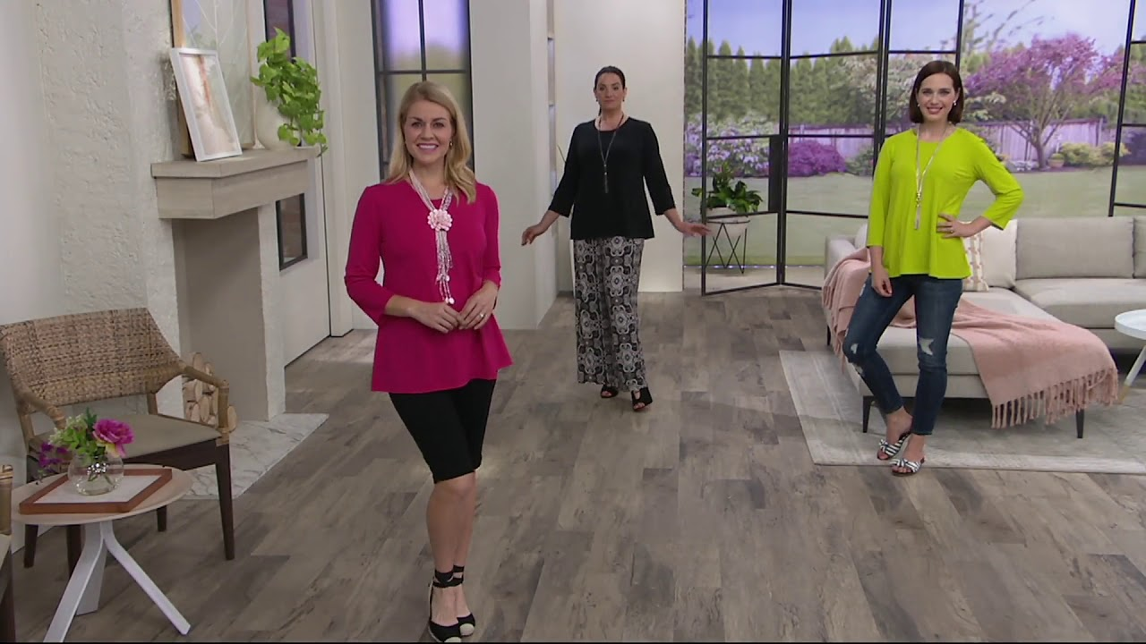 a092dc113760f0 Joan Rivers 3 4 Sleeve Knit Top with Pleated Back on QVC - YouTube