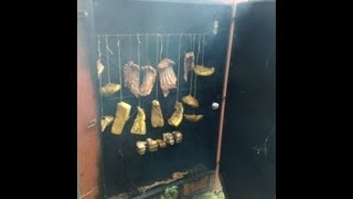 Домашняя коптильня  - Коптим свиные ребра + сало )