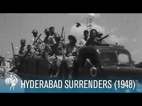 General El Edroos' Troops Surrender in Hyderabad, India (1948) | British Pathé