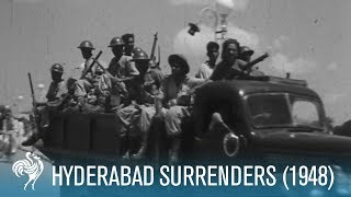 General El Edroos' Troops Surrender in Hyderabad, India (1948)   British Pathé