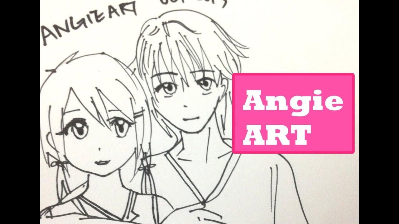 How To Draw Manga Couple Anime Boy Anime Girl Hug Youtube