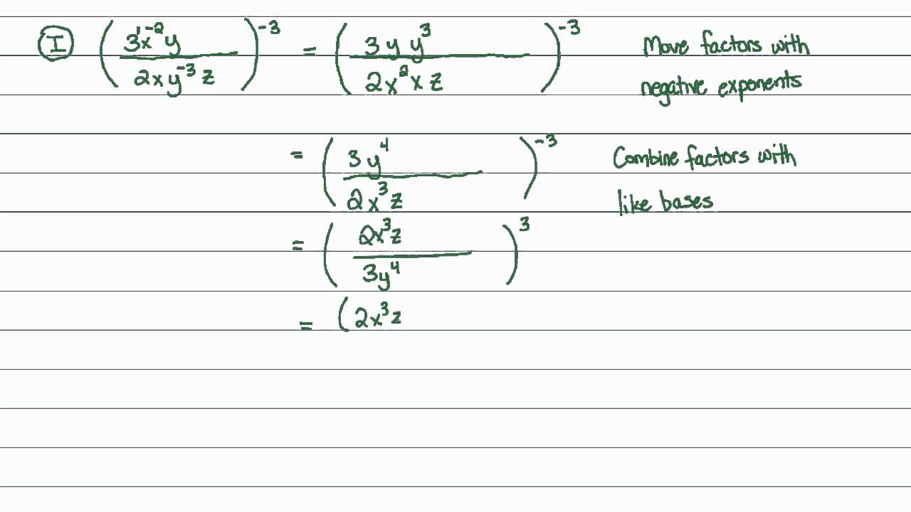 worksheet exponents