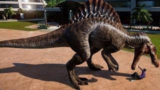Jurassic World Evolution - Spinosaurus & Giganotosaurus Breakout & Fight! (1080p 60FPS)