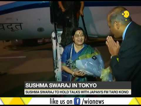 Sushma Swaraj in Tokyo to attend strategic dialogue