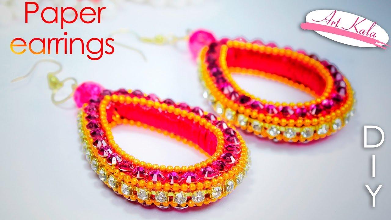 How to make silk thread earrings paper earrings best for Waste from best making