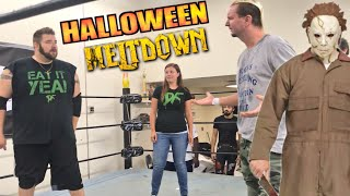 WWE star James Ellsworth vs Heel Wife vs Grim for Intergender Championship - Halloween Appears