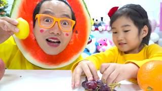 과일 색칠놀이 하면 진짜 과일이 나온데요! 여러가지 과일로 색깔 배우기 색칠공부 놀이 Learn Colors