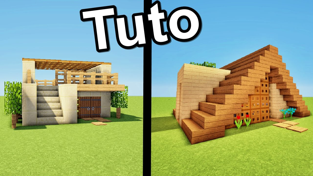 Minecraft tuto 3 starter house youtube - Belle construction minecraft tuto ...