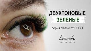 Двутоновые зеленые ресницы Наращивание ресниц Практика Мастер класс Видео урок