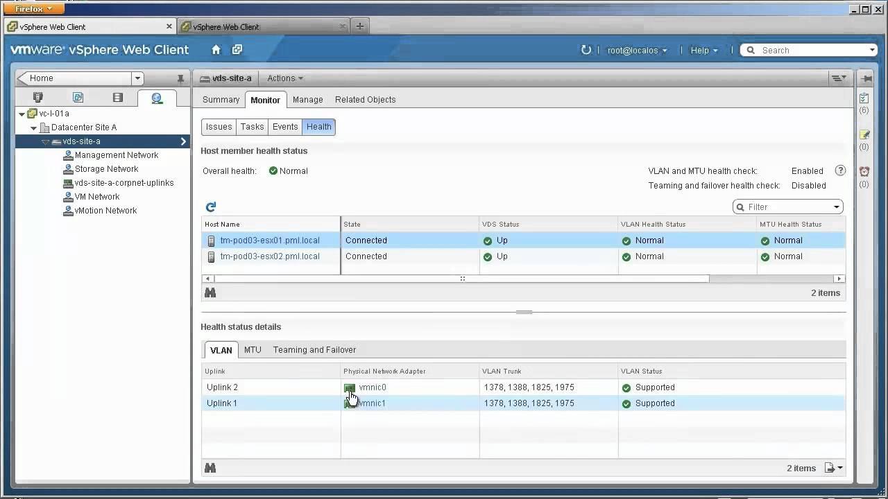 vSphere Network Health Check Video | ESX Virtualization