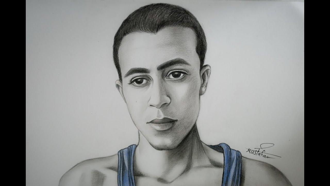 Drawing By Mustafa Saadi Drawings Male Sketch Art