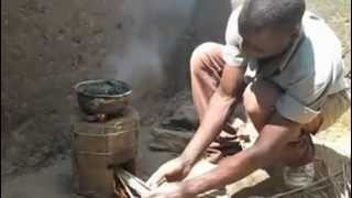 Rocket Stove in Malawi (six brick) in use (unfired clay)