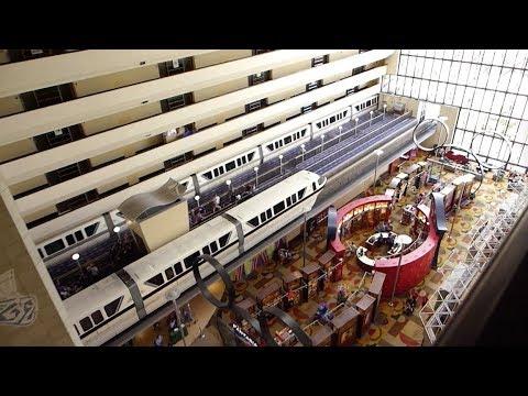 Walt Disney World - Disney's Contemporary Resort - Monorails Passing Through The Resort (2018)