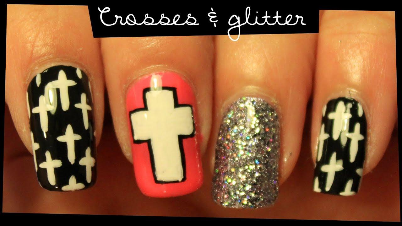 Crosses Glitter Nail Art Youtube