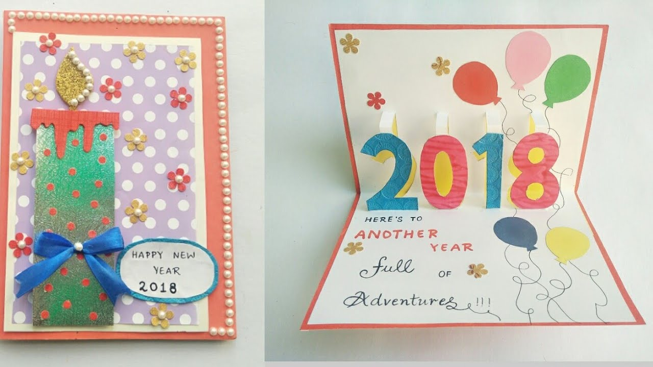 DIY New Year Card 2018/Greeting Card for New Year Celebration/New ...
