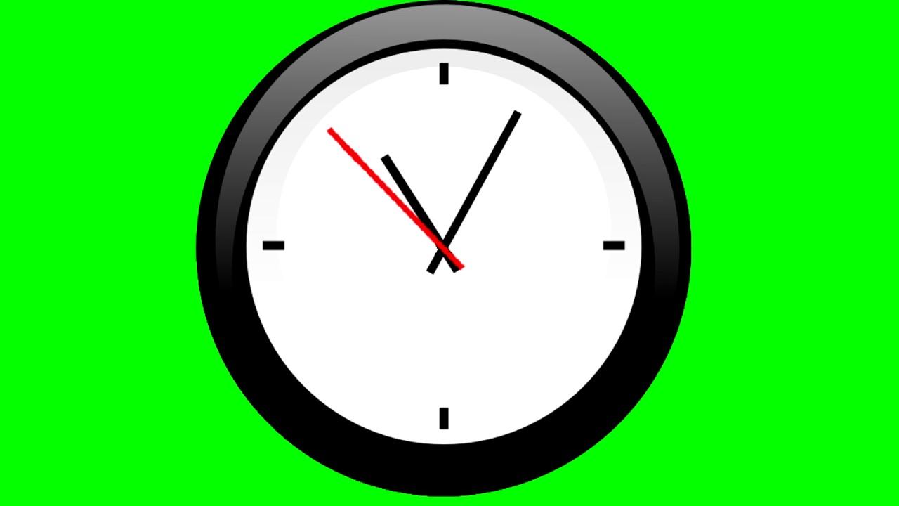 Cartoon Clock Ticking - Green Screen