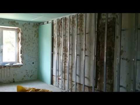 гипсокартон, обшивка стен, очередность монтажа. Drywall installation.