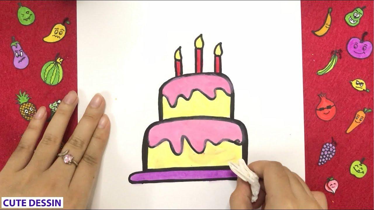 Comment Dessiner Et Colorier Un Gâteau D Anniversaire Mignon Facilement étape Par étape 1 Dessin G