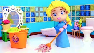 Frozen Elsa cleaning the house 💕 Play Doh Stop motion videos for children