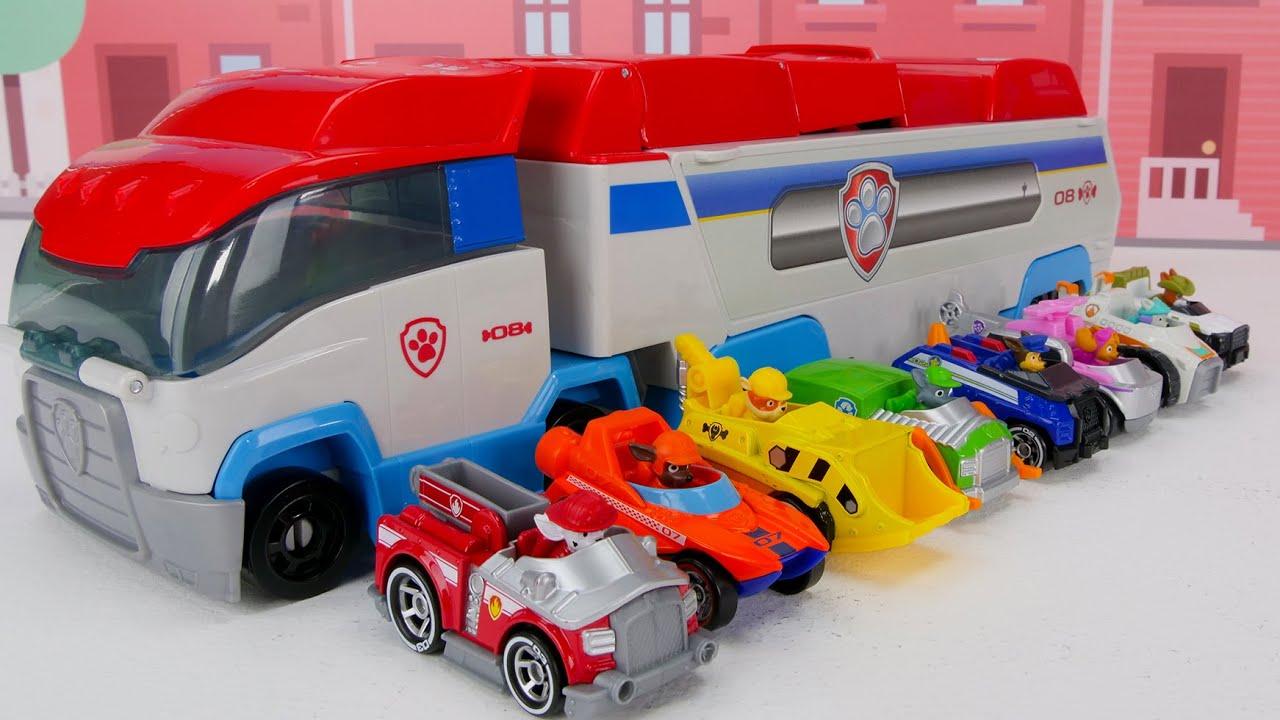 बच्चों के लिए खिलौना सीखने का वीडियो - पंजा गश्ती सच धातु वाहन सबसे बड़ी दौड़!
