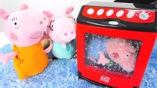 Детское видео про Свинку Пеппу - Джордж залез в посудомойку