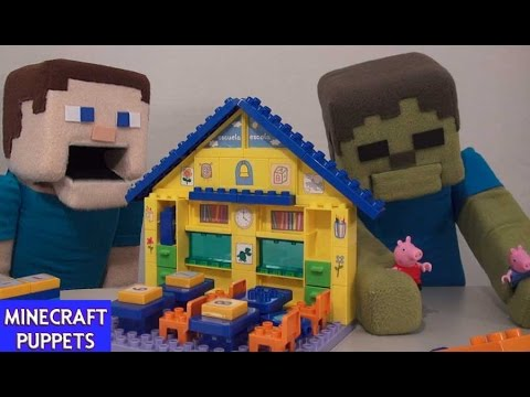 Peppa Pig & George School lego Playset Figures Unboxing Review Puppet Steve